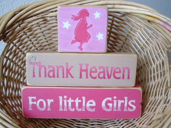 Country Decor, Shelf Sitter, Wood Shelf Stacker Blocks Primitive Home Decor - Thank Heaven for Little Girls Kids Room Decor