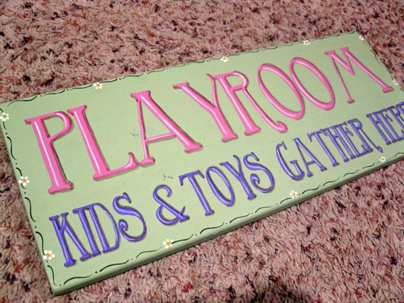 Kids Room Sign, Girls Room Sign, Grandma Gift, Primitive Wood Sign - PLAYROOM Kids and Toys Gather Here Girls Handpainted Wood Phrase Sign