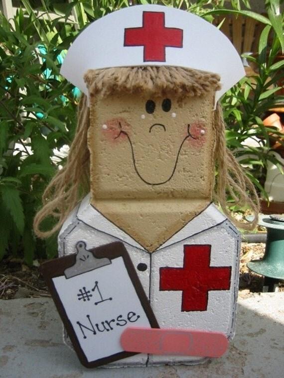 Yard Art, Garden Decor, Garden Decoration, Outdoor Decor, Nurse Patio Person Weather Resistant Painted Concrete Paver