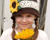 Boutique Custom Crochet Lacy Banded Sunflower Cloche (Child - Adult Sizes)