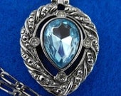 Vintage Necklace, Signed, Ice Blue Teardrop, Faceted Stone, Rhinestones, ca 1970 NT-570