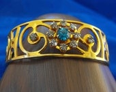 Vintage Bracelet, Cuff, Yellow Gold Plated, Rhinestones, ca 1950
