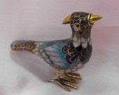 Vintage Figurine, Cloisonne Bird, Enamel, Porcelain, Gold, ca 1950 NT-787