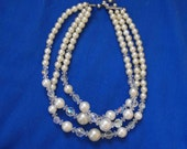 Vintage Necklace, Faux Pearls and Crystal Beads, Aurora Borealis, ca 1950s NT-1016
