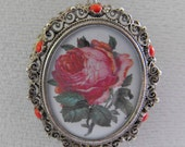 Antique Pendant/Brooch, 800 Silver, Coral Beads, Filigree, Rose, Silver Chain, ca 1930s, NT-1084