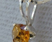 Tourmaline Pendant, Sterling Silver, Honey Color, 4mm, with Sterling Silver Chain, TO-05