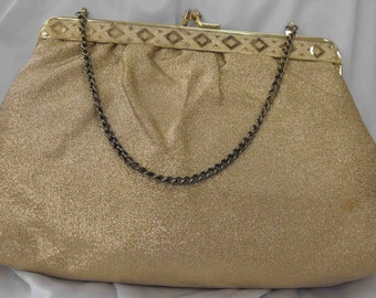 Vintage Purse, Gold Lamee with Chain 6x9-in ca 1960-70 NT-230