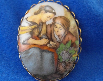 Vintage Brooch, Two Women, Transfer Portrait, Dutch Painting, ca 1940s NT-247