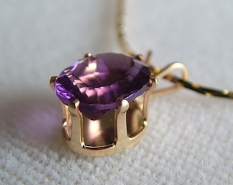 Fluorite Pendant, Purple, 10K Gold-Filled, 1.40 ct, 9x7mm, with Gold-Filled Chain, 18-in. FL-02