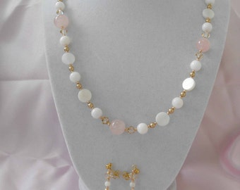Necklace & Earrings, Rose Quartz, Mother-of-Pearl, Goldplated Beads, Swarovski Crystals NT-727