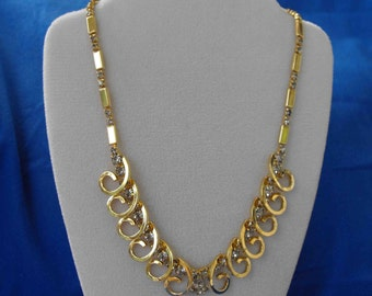 Vintage Necklace, Rhinestones, Gold Plated, STATEMENT PIECE, ca 1980