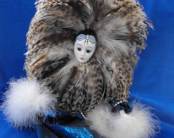 Vintage Doll, Mardi Gras, Costumed, China Face & Appendages, ca 1980 NT-805