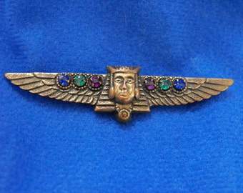 Antique Brooch, Egyptian Revival, Pharoah, Brass with Rhinestones, ca 1910-20 NT-908
