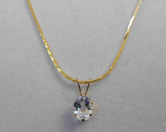 White Topaz Pendant, 1.61 ct, 8x6mm, Yellow Gold Filled Setting and Chain WTG-05