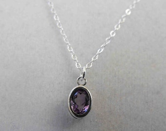 Amethyst Pendant, 0.80 ct, 7x5mm, Sterling Silver Bezel Setting and Chain AMS-08