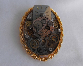 Vintage Brooch/Pendant, Steampunk, Watch Parts, ca early 1990s NT-1021