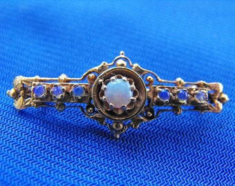 Antique Brooch, Victorian/Edwardian, Etruscan Style, 14K Yellow Gold, Opals, ca 1910-20s NT-1109