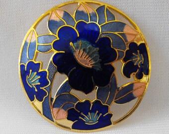 Vintage Brooch, Cloisonne, Gold Plated, Floral Design, ca 1970s NT-1111