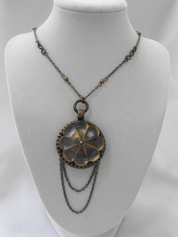 Antique Pendant, Necklace, Victorian Revival, Brass, Upcycled, OOAK, ca 1930-40 NT-1074