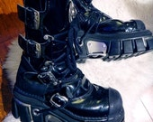 RESERVED 20% off SALE /// Vintage New Rock Gothic PVC Buckle Boots