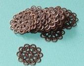 Antiqued copper plated filigree flower links - 20mm - 25pcs
