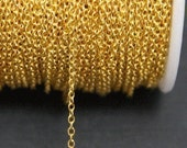 Gold color plated brass round cable chain 2mm - 10ft