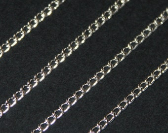 32ft Silver plated brass curb chain 1.9 x2.2mm