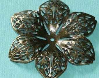 Antiqued brass filigree flower focal - 44mm -15