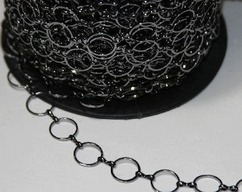 5 feet of  Gunmetal plated over Brass 12mm circle links chain