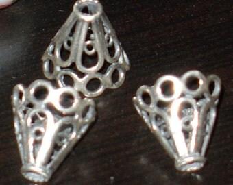 Bali sterling silver filigree open wire cone 12mm - 2pcs