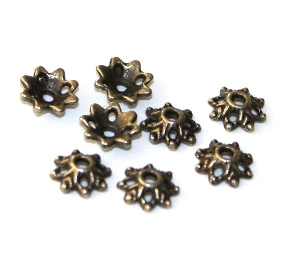 50 - Antiqued brass finish snow flake beads cap