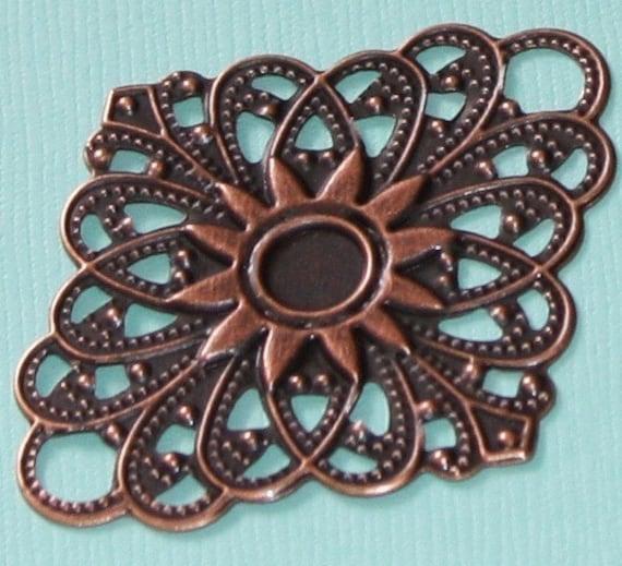 Antiqued copper filigree diamond links 38X47mm - 10