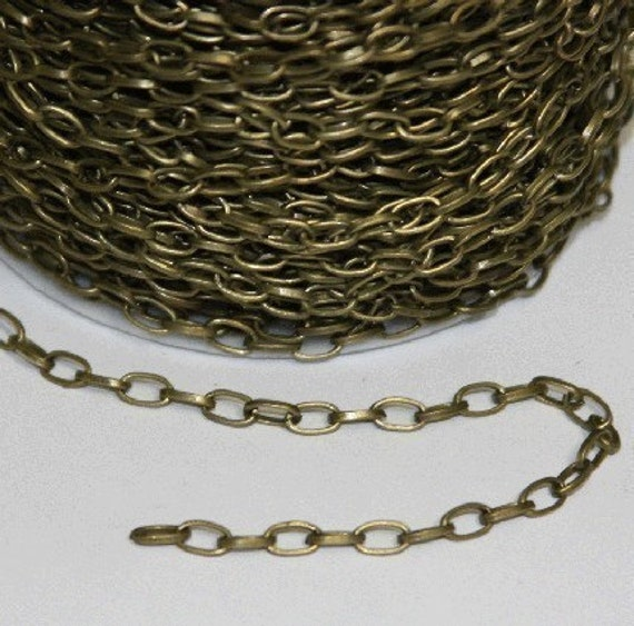 32 ft of Antiqued Brass finished Chunky steel chain 3.5X6mm