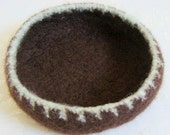 SALE 35% OFF Chocolate Mint Felted Wool Bowl