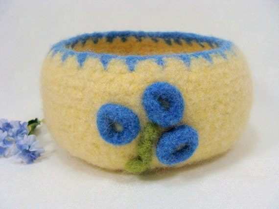SALE 35% OFF Felted Wool Bowl Forget Me Not