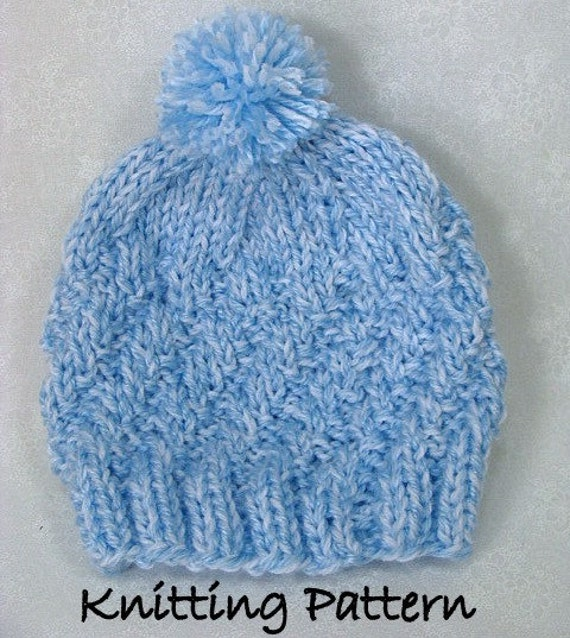 Knitting A Hat In The Round With Double Pointed Needles : Pdf knitting pattern newborn hat diagonal rib