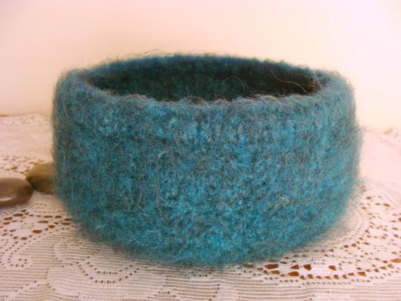 Clearance Sale Felted Wool Teal Bowl