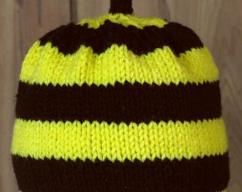 Bumble Bee Hat for Newborn, Infant, Toddler or Young Child -  Hand Knit
