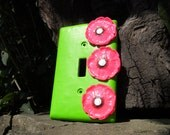 Flower Light Switch Plate Cover Pink Poppy Lime Green Polymer Clay