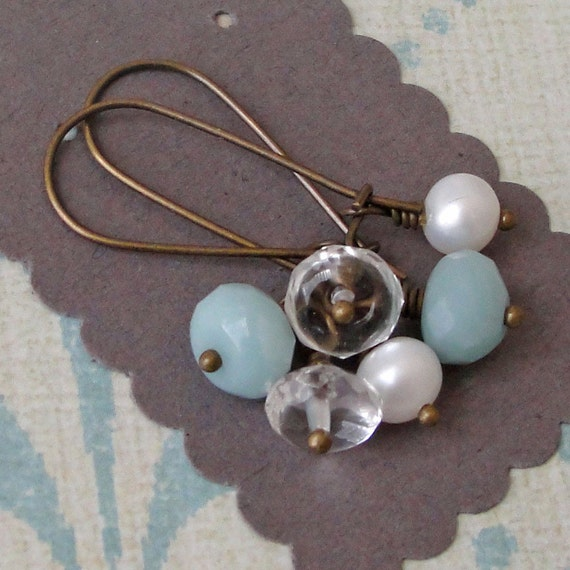 Interchangeable Earrings - amazonite, rock crystal and pearls with antiqued brass