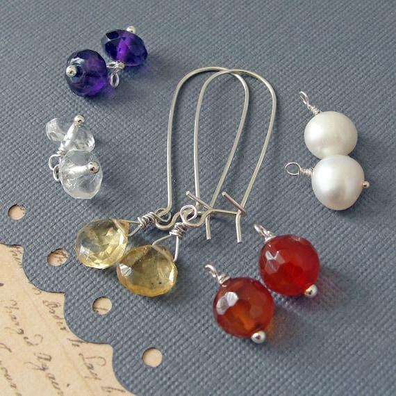 Luxe Gem Earring Set - sterling silver elongated hooks with amethyst, lemon quartz, carnelian, rock crystal and freshwater pearls