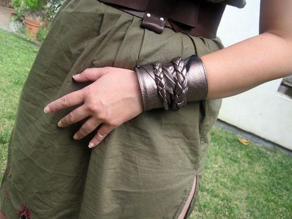 Braided Bronze Leather Wrap Cuff Bracelet - Secret Wallet     (upcycled)