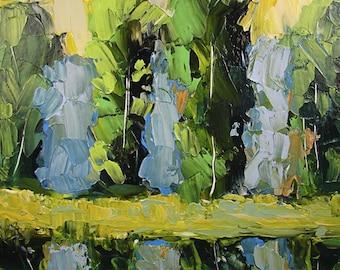 ORIGINAL  Painting Impressionist Southern Landscape   Impasto Palette Knife  043012b