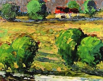 Original Acrylic Painting Impressionist Southern Landscape Impasto Palette Knife