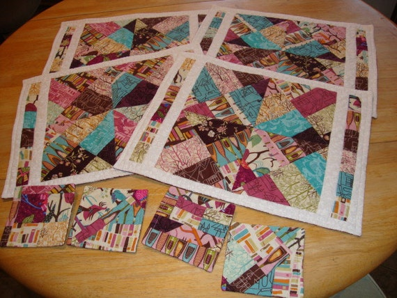 Contemporary Quilted Placemats and Coasters 8 piece Table Set