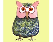 Olivia the Owl Archival Art Print - ONE 8 1/2 x 8 1/2 Print or Choose From Oscar or Owen