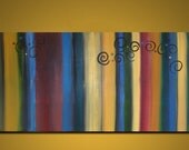 LARGE Original Modern Acrylic Painting 48 x 24  - Stripes and Whimsy - MADE to ORDER