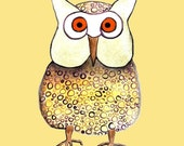 Oscar the Owl Archival Art Print - ONE 8 1/2 x 8 1/2 Print or Choose From Olivia or Owen
