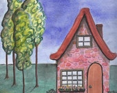 Red Stone House Archival Art Print 8 1/2 x 11
