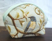 Coin Purse with A Blue Bird - Large  Size